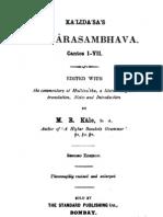 KumarasambhavaCantosI Vii SanskritCommentaryEnglishTranslationNotes MrKale1917