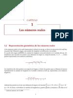 b) Representación geométrica de los números reales