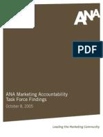 ANA Marketing Accountability Bench Marking Report 2005