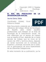 El Rol Del Psicologo de La Intervencion Social Garau