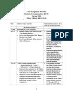 Class Assignment Sheet For