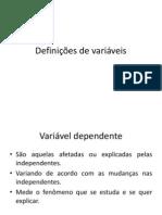 Definições de variáveis