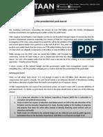 Presidential Pork Barrel Primer