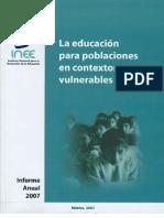 La educación para poblaciones en contextos vulnerables