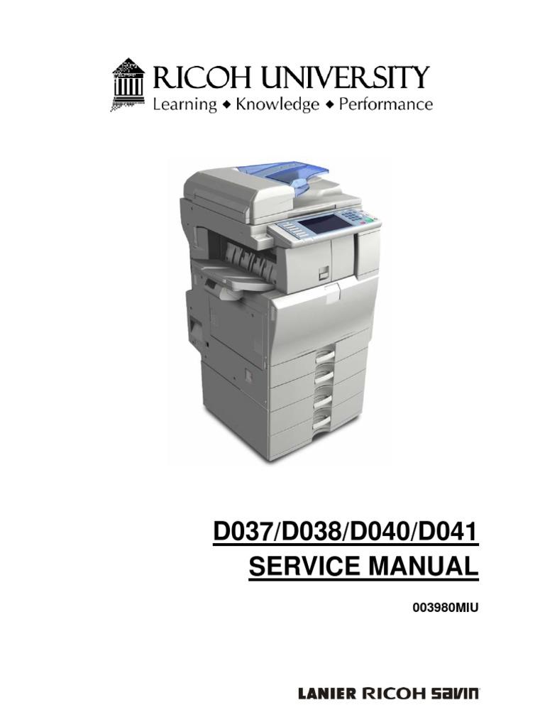 Ricoh aficio mpc2500 pk b230 b237 d042 parts catalog service.