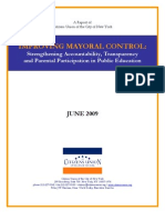 CU Report Improving Mayoral Control of Schools 061209