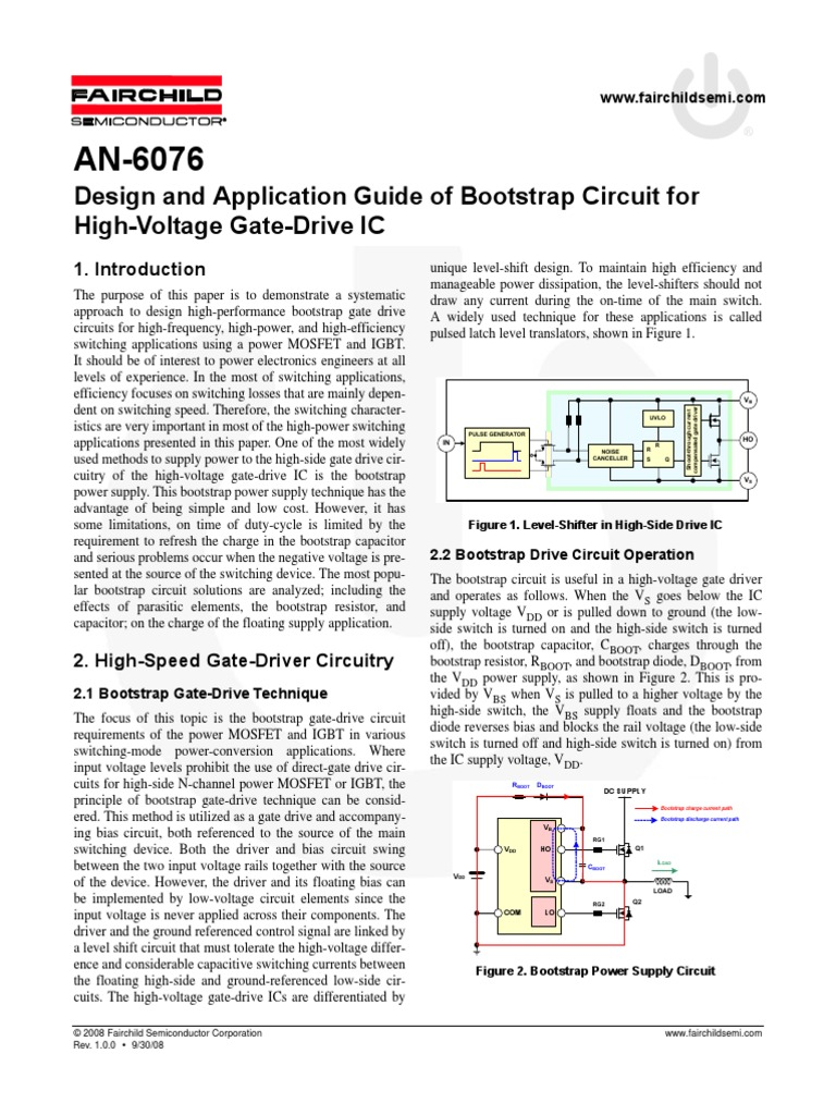 An 6076 Capacitor Field Effect Transistor High Side Mosfet Driver Circuit