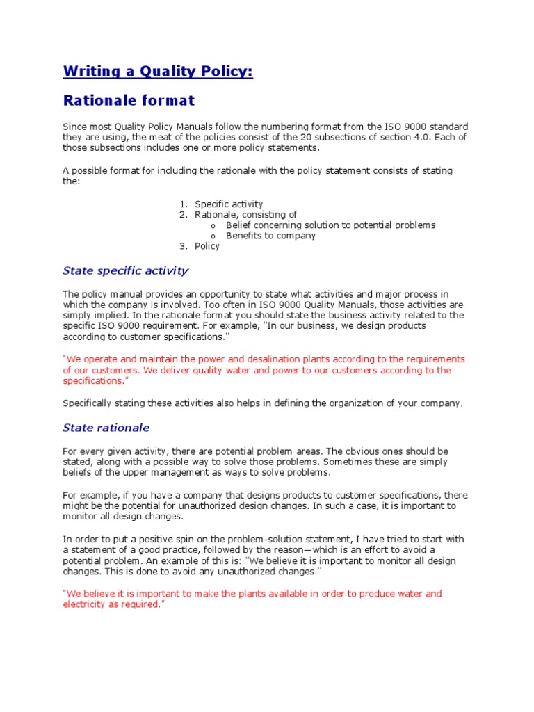 How To Write A Quality Policy  PDF  Iso 15  Quality Management