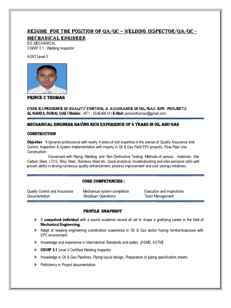 Resume For The Position Of Qa Qc Welding Inspector Or Qa Qc Mechanical  Engineer | Quality Assurance | Welding
