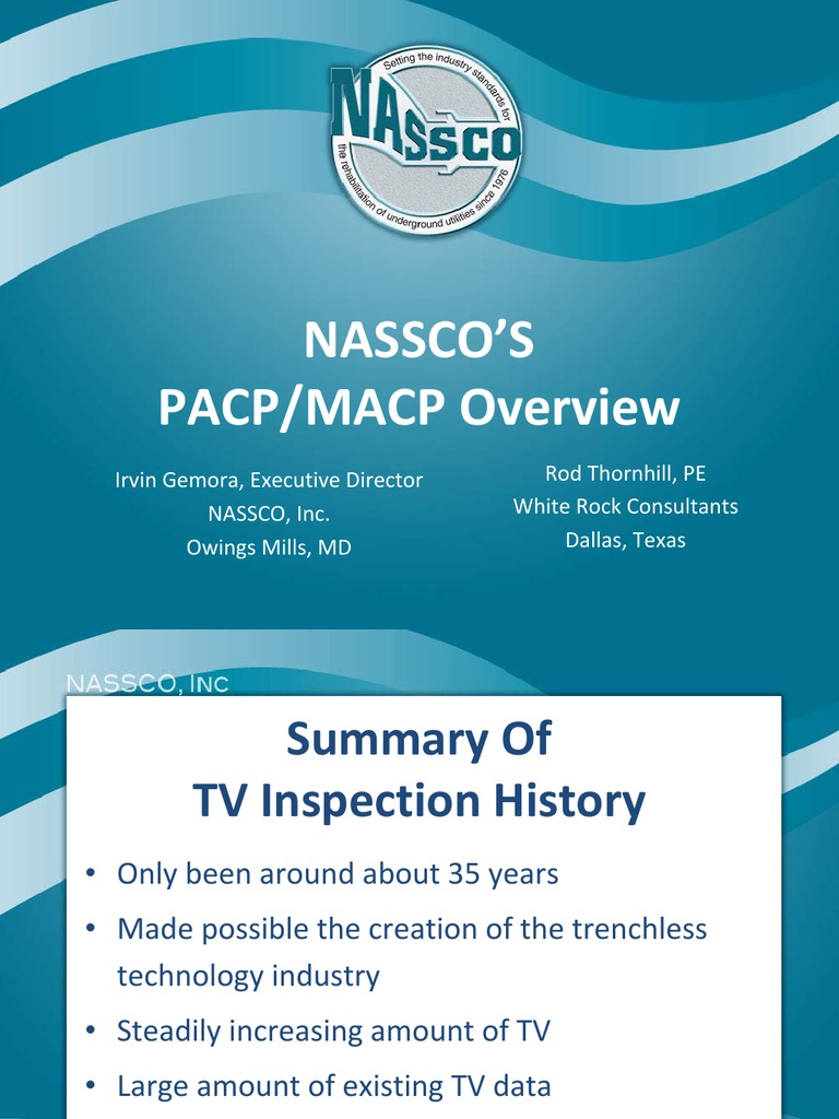 Pacp Macp Overview Sanitary Sewer Pipe Fluid Conveyance