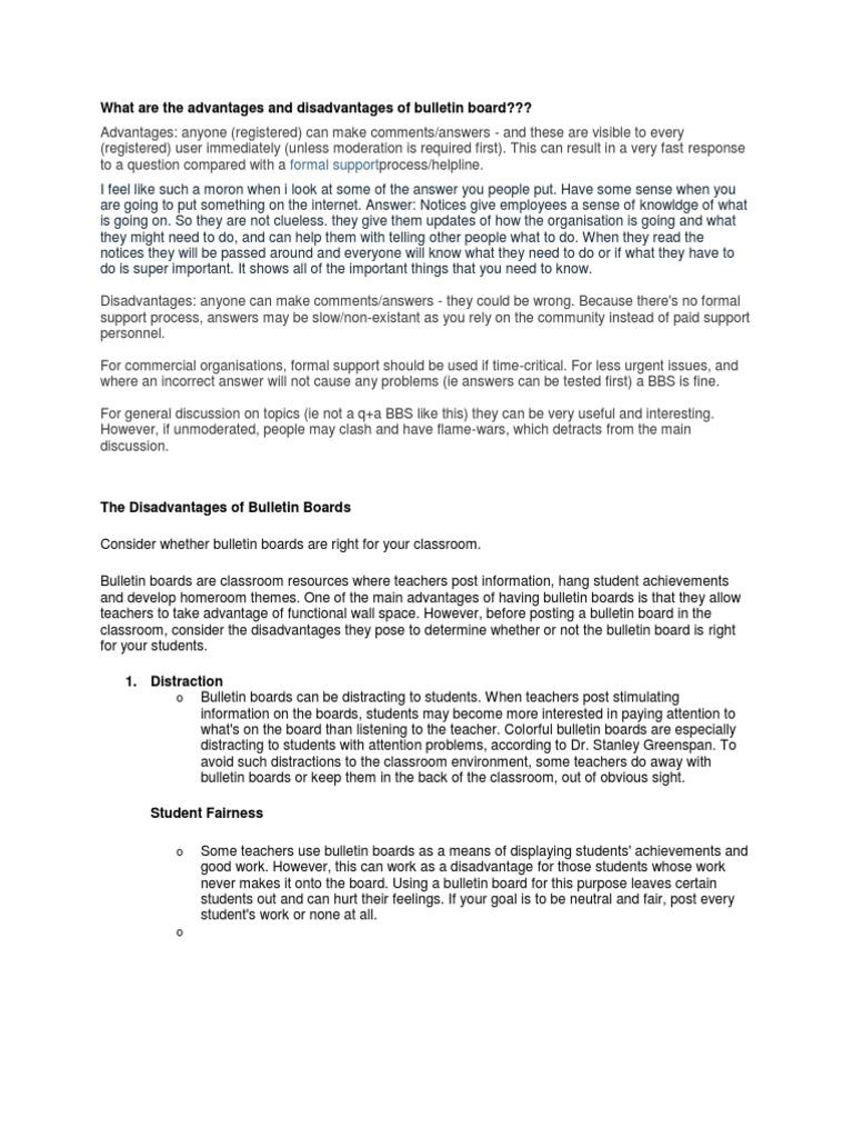 Classroom Design Advantages And Disadvantages ~ What are the advantages and disadvantages of bulletin