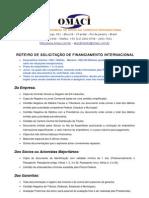 PROCEDIMENTOS PARA OBTENÇÃO DE FINANCIAMENTO INTERNACIONAL