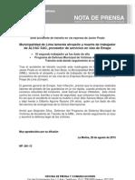 NP. 081-13 MML lamenta atropello y muerte de trabajador de ALVAC SAC, proveedor de servicios en vías de Emape