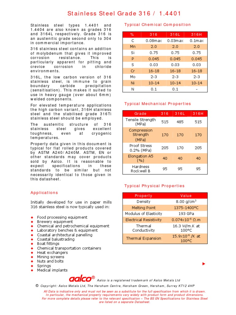 datasheet acero 316 - Stainless Steel - Steel