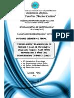 FORMULACIÓN Y ELABORACIÓN DE MOUSSE A BASE DE ANCHOVETA (Engraulis ringens) PARA NIÑOS MENORES DE 5 AÑOS CON DESNUTRICIÓN CRÓNICA  –   2012