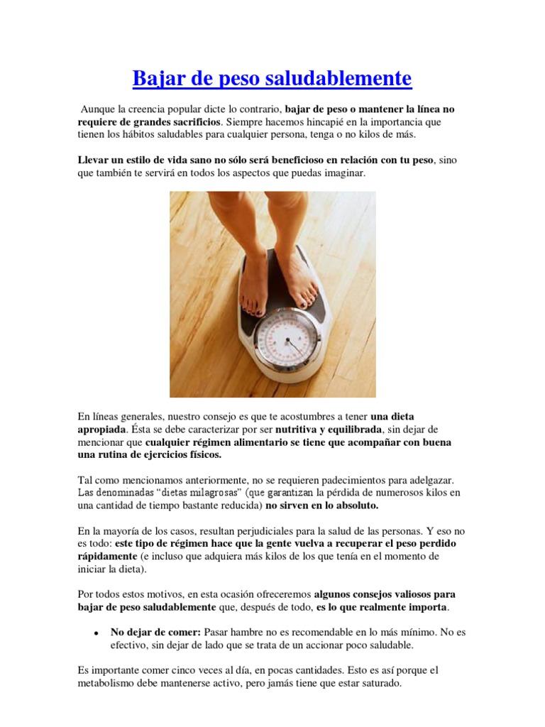 Dieta nutritiva y equilibrada para bajar de peso