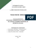 EVALUACIÓN Y DIAGNÓSTICO DEL PLAN CURRICULAR DE LA ESCUELA ACADÉMICO PROFESIONAL DE MATEMÁTICA APLICADA