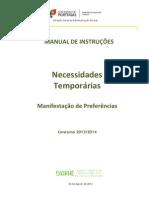 Manual de Instruções – Manifestação de Preferências – Necessidades Temporárias - 2013