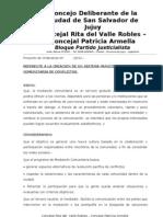 Proyecto de Ordenanza Nº  MEDIACION COMUNITARIA