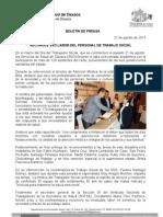 27/08/13 Germán Tenorio Vasconcelos reconoce Sso Labor Del Personal de Trabajo Social