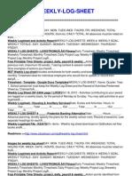 Weekly Log Sheet