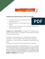 Comunicado de Prensa 02 de Julio