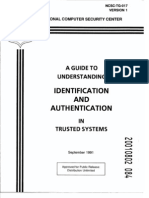 NCSC-TG-017 a Guide to Understanding Identification and Authemtication in Trusted Systems