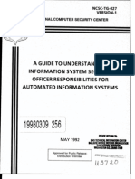 NCSC-TG-027 a Guide to Understanding ISSO Responsibilites for Automated Information Systems