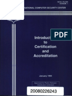 NCSC-TG-029 Introduction to Certification and Accreditation