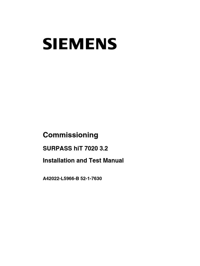 surpass hit 7020 installation and test manual 3p2 documentation rh scribd com  siemens surpass hit 7020 manual