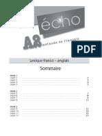 Écho_Methode de francais_A2_Lexique