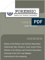 FORENSIC; Orientation 2013