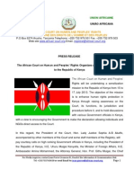 Press Release - Sensitization Visit to Kenya