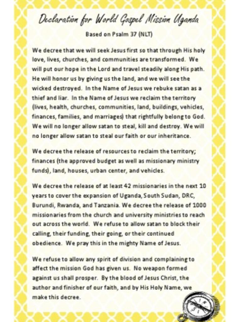 Uganda Field Declaration | Missionary | Uganda