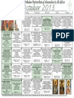 2013 - OCTOBER Festal Calendar