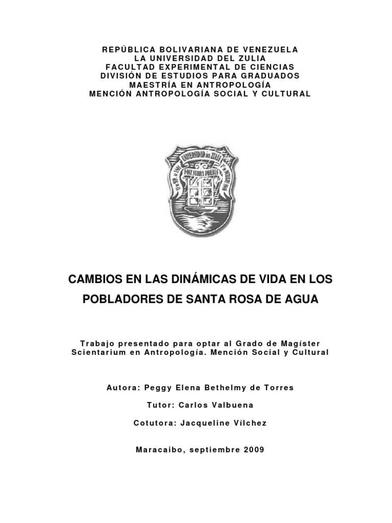 Cambios en Las Dinamicas de Vida en Los Pobladores de Santa Rosa de Agua
