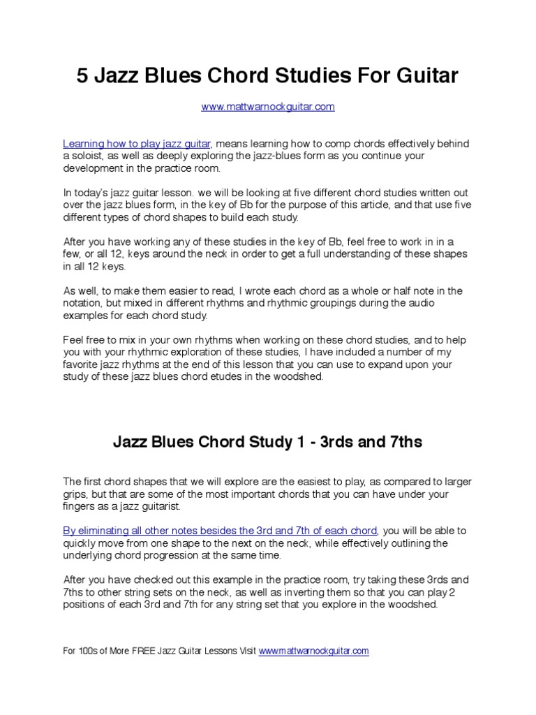 5 Jazz Blues Chord Studies2 Chord Music Guitars