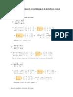 Resolver Sistemas de Ecuaciones Por El Metodo de Gauss