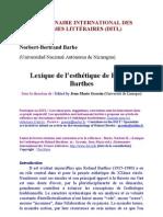 Lexique de l'esthétique de Roland Barthes