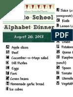Back to School Alphabet Dinner 2013