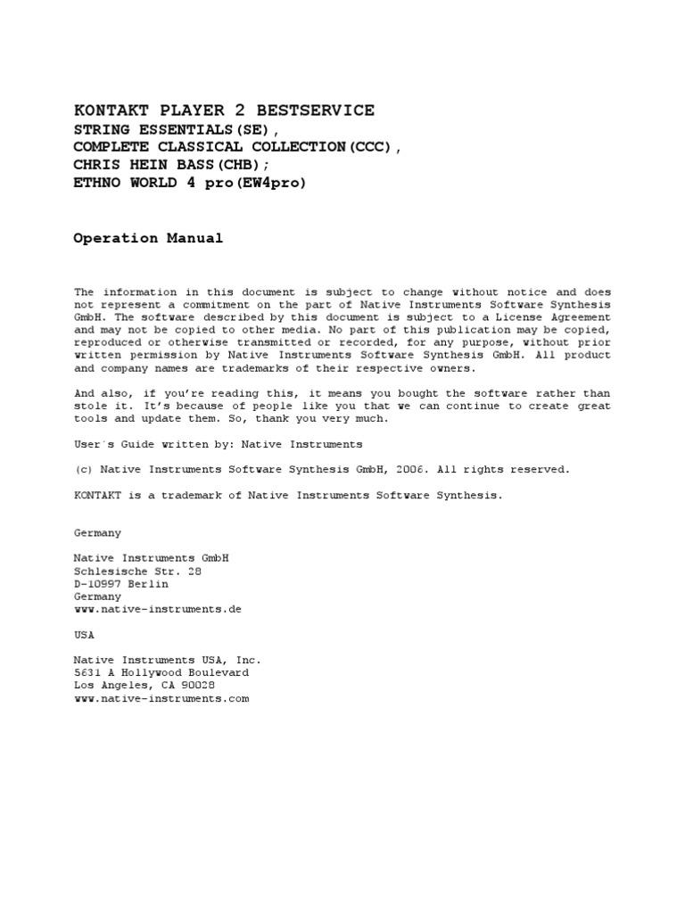 Kontakt 5 manual download - Best Service Chris Hein Bass Sound Library Manual For Kontakt Installation Computer Programs Computer Keyboard