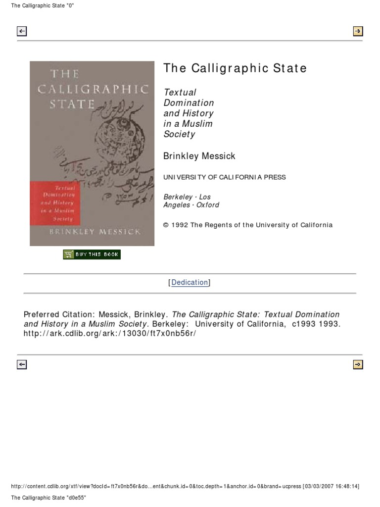 Brinkley Messick the Calligraphic State Textual Domination and History in a Muslim  Society Comparative Studies on Muslim Societies , No 16 1996 | Sharia ...