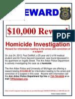 Paul DeWolf homicide investigation reward poster