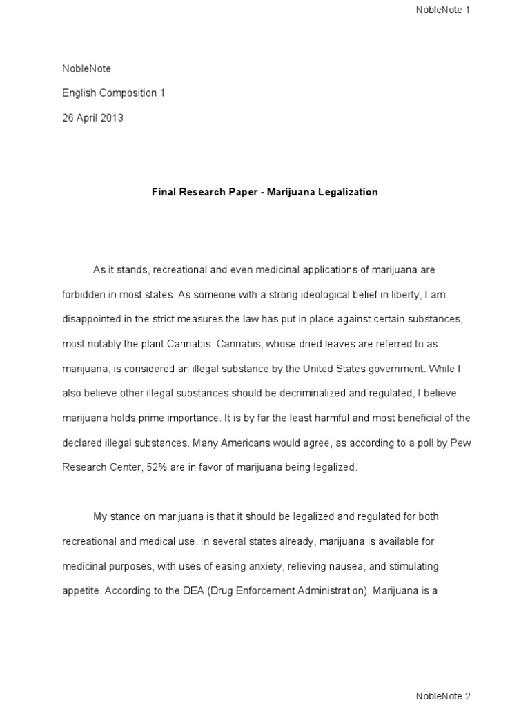 final research paper marijuana legalization medical cannabis
