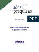 DIEESE EST PESQ 67 Balanco Pisos 2012 Jul 2013