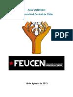 Acta CONFECH Universidad Central - 18 de Agosto 2013