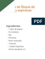Receta de Ñoquis de papas y espinacas