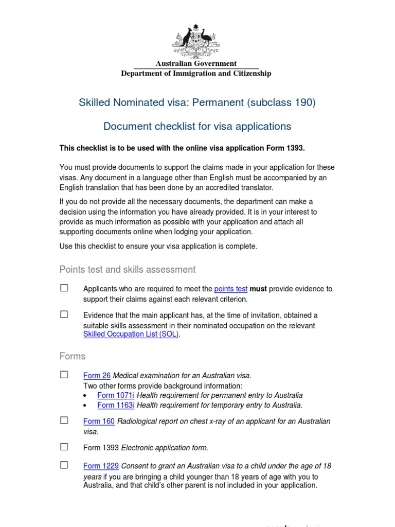190 Applicant Checklist | Identity Document | Travel Visa