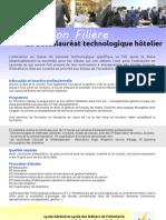 Information Filière Le Baccalauréat technologique hôtelier