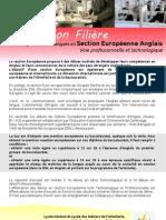 Information Filière Section Européenne Anglais Voie professionnelle et technologique